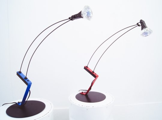 Blue / Red Halogen Desklamps with Rockerswitch