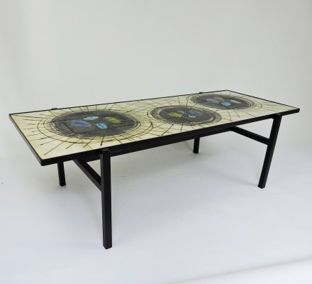 Mid-Century Painted Ceramic Coffee Table from Belarti