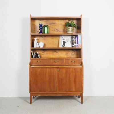 Danish design teak secretaire with bookcase, 1960's