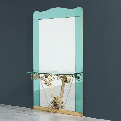 Pierluigi Colli Cristal Art mirror with console, circa 1940
