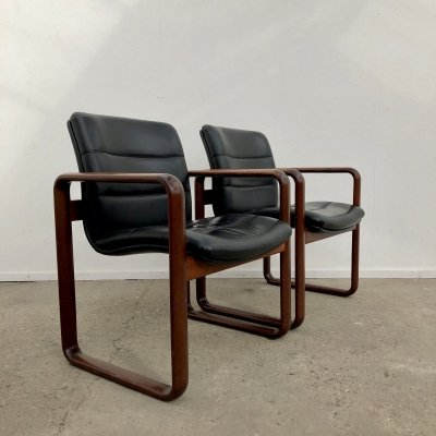 Vintage leather Rosenthal armchair by Burkhard Vogtherr, 1970s