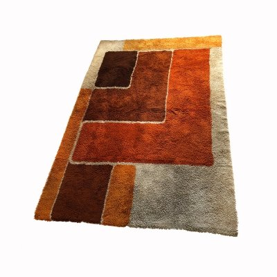 Extra Large Vintage Colorful Cubic High Pile Rug by Desso, Netherlands 1970