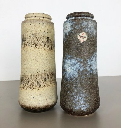 Set of Two Pottery Fat Lava Vases '206-26' Made by Scheurich, Germany 1970s