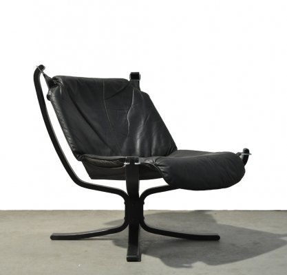Black leather Falcon chair by Sigurd Ressell for Vatne Møbler, 1970s