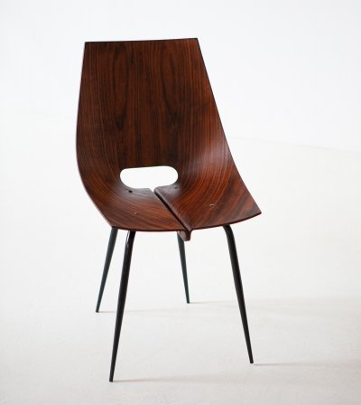 1950s modern curved rosewood chair by Societa Compensati Curvati