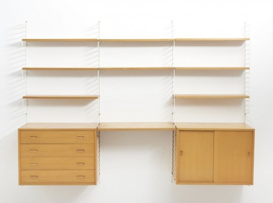 Large string wall unit in ash by Nisse Strinning