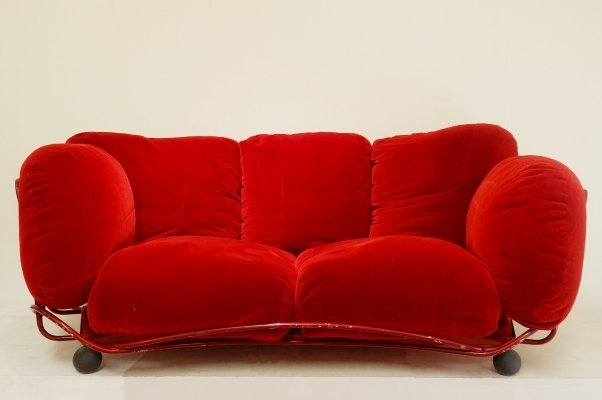 Red Velvet Sofa by Edra, 1970s