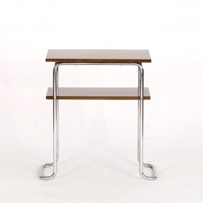 Bauhaus Chrome, Steel & Walnut Side Table, 1930s