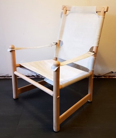 Scandinavian design beech & canvas safari chair, 1970s