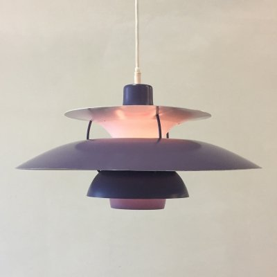 Purple Danish design ph5 pendant by Poul Henningsen for Louis Poulsen