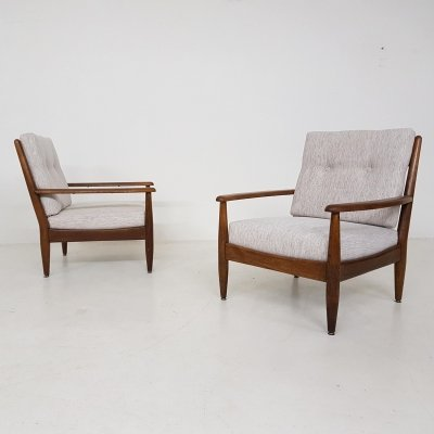 Set of 2 oak lounge chairs, The Netherlands 1960's