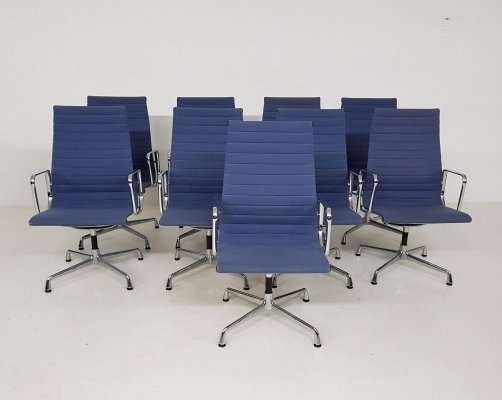 9x light blue Eames model EA107 office chairs for Vitra, U.S.A. 1958