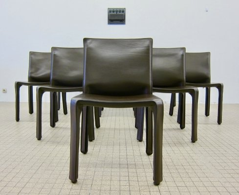 Set of 8 brown leather CAB412 dining chairs by Mario Bellini for Cassina, 1977