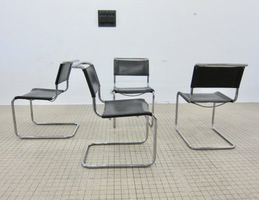 Set of 4 Bauhaus S33 dining chairs by Mart Stam for Thonet, 1980s
