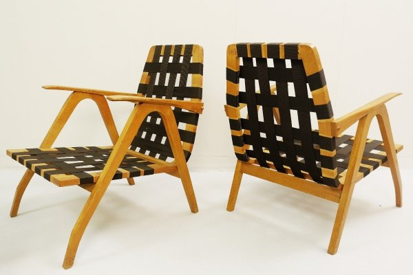 Pair of Braided straps Armchairs, Hungary