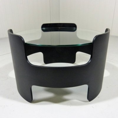 Black plywood & glass coffee or side table, 1960's