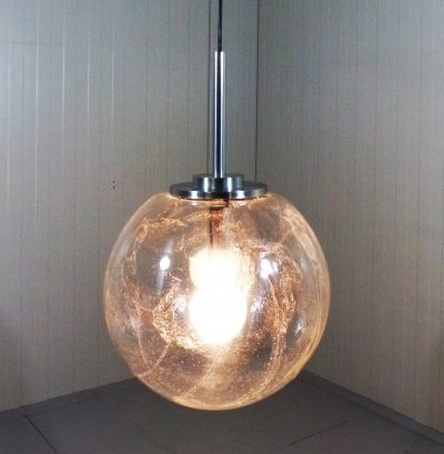 Big glass hanging lamp by Doria, 1960's
