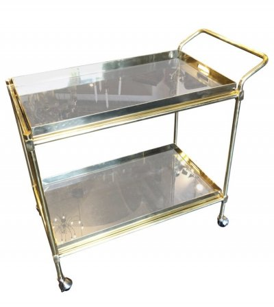Hollywood Regency Solid Brass & Smoked Glass Italian Bar Cart, circa 1970