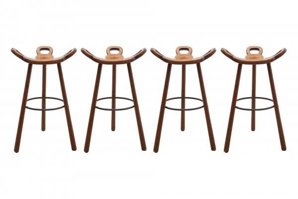 Set of four Brutalist 'Marbella' bar stools by Confonorm, 1970s