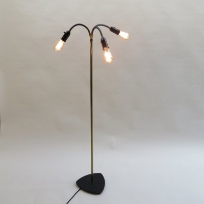 1950s Danish Brass & Metal Adjustable Standard Floor Lamp