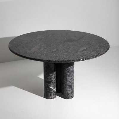 Marble round dining table, 1970s