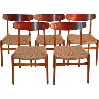 Set of 5 CH 23 dining chairs by Hans Wegner for Carl Hansen & Søn, 1950s