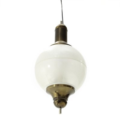 Midcentury burnished brass & pressed glass Italian pendant lamp, 1960s