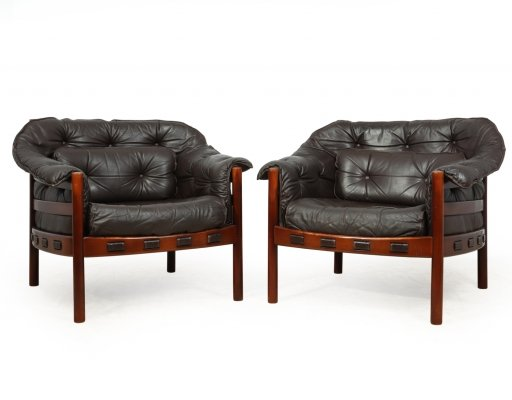 Pair of Leather Armchairs by Arne Norell, c 1960