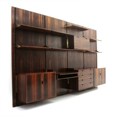 Wood & brass modular italian wall unit by Marco Comolli for Mobilia, 1960s