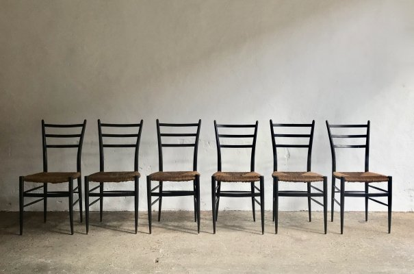 Set of 6 Chiavari Spinetto Dining chairs, 1950's