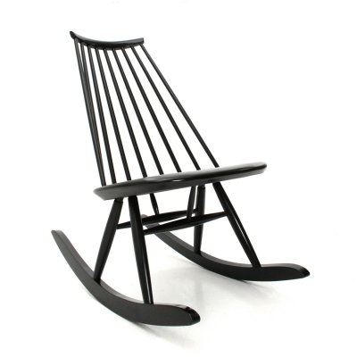 Midcentury modern black Mademoiselle rocking chair by Ilmari Tapiovaara for Artek, 1950s