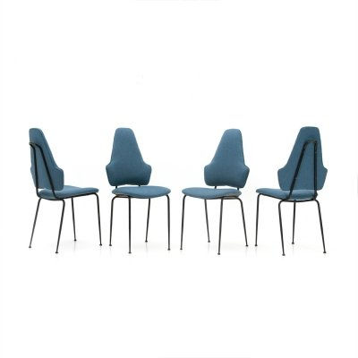 Set of 4 Italian Midcentury modern black metal & fabric dining chairs, 1950s