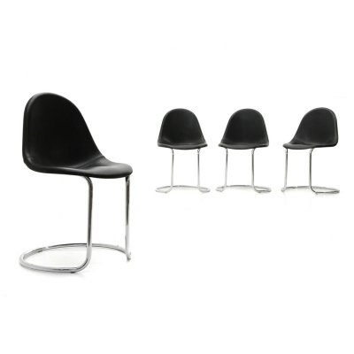 Set of 4 Midcentury modern 'Maia' leather dining chairs by Giotto Stoppino for Bernini, 1970s