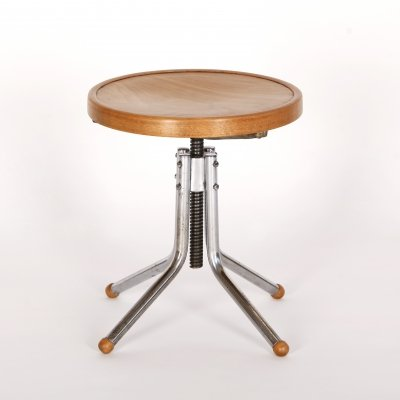 Steel Swivel Stool by Slezák, 1930s