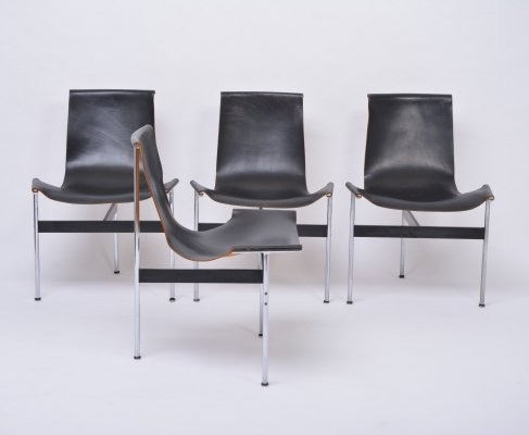 Set of four vintage T-Chairs in black leather by Katavolos, Littell & Kelly