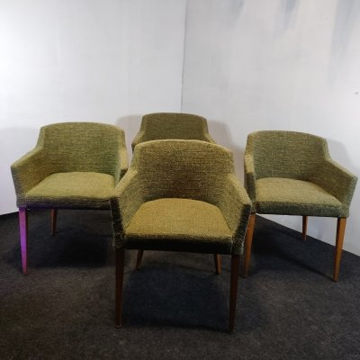 Set of 4 Mid century modern chanel armchairs, 1970s