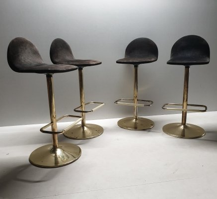 Vintage Italian gold plated bar stools with suede seats