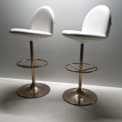 Pair of Vintage gold plated 'Vinga' bar stools by Borje Johanson for Johanson, 1990s