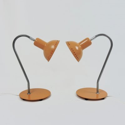 Pair of Adjustable Peach Desk Lamps, 1970s