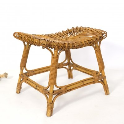 Italian rattan stool from the 1960s-1970s