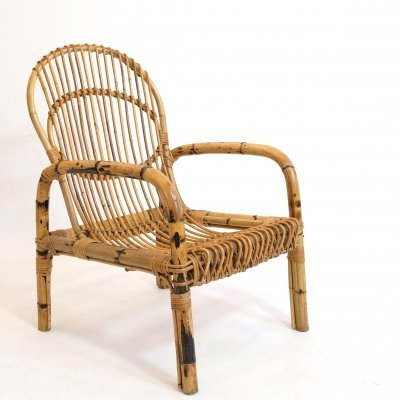 French bamboo lounge chair from the 1960's-1970's