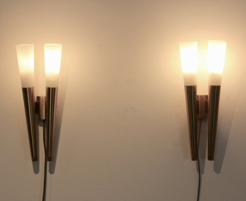 Glamorous pair of Italian Brass & Opaline Glass Sconces, Italy 1970s