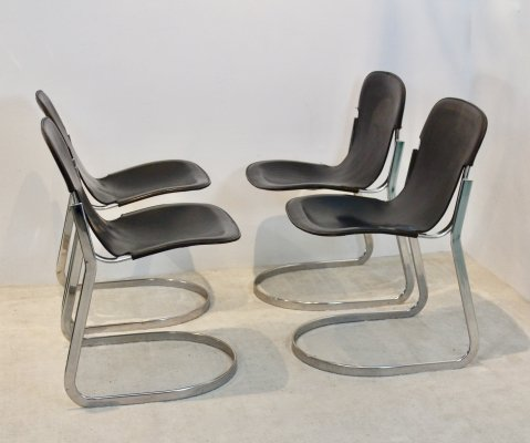 Set of four Black Saddle Leather Dining Chairs by Willy Rizzo for Cidue