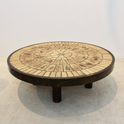 Ceramic Tiled & Oak wood Artwork Coffee Table by Roger Capron, Signed