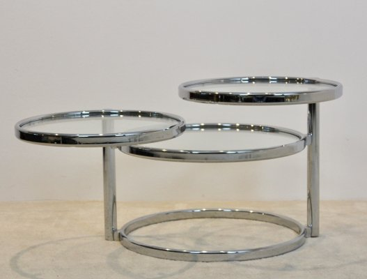 Chrome & Glass Three Tier adjustable Side Table