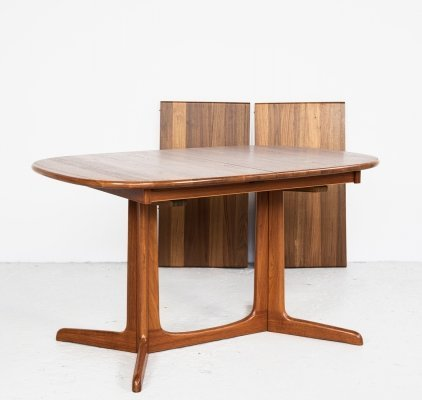 Danish compact oval dining table in teak with 2 extensions, 1960s