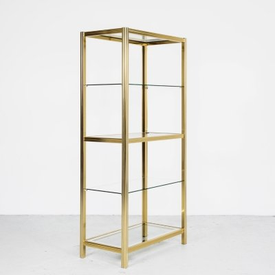 Italian glass & brass shelf by Renato Zevi, 1970s