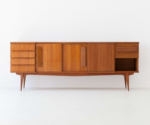 Italian Teak Sideboard with Chest of Drawers, 1950s