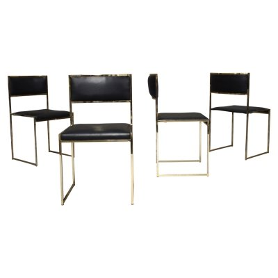Set of 4 Willy Rizzo dining chairs, Italy 1970s