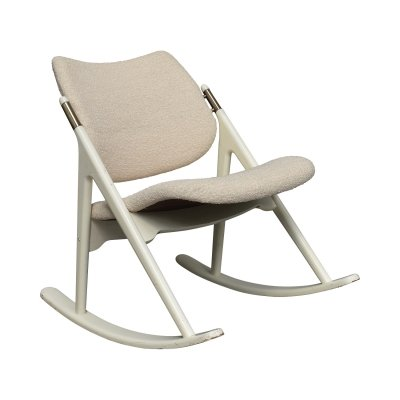 Olav Haug rocking chair with brass details, 1950s